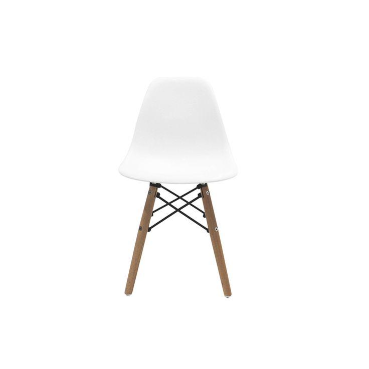 Replica de la famosa silla Eames DSW (Dining Side Wood)que fue diseñada por Charles & Ray Eames en el año 1950 para el Museo de Arte Moderno de Nueva York, fue la primera silla de fabricación industrial en plástico.Detalles de la original : Carcasa del asiento de polipropileno teñido, sin acolchado. Base madera de arce