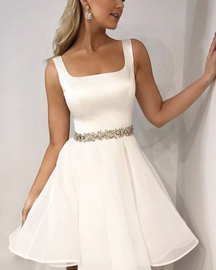 75c2fbac31 Simple Square Satin White Homecoming Dress with Beading Belt HD3418