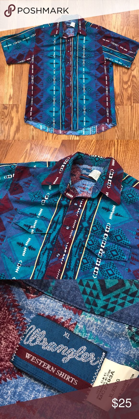 Vtg Wrangler Southwestern shirt Vintage wrangler Western shirt with Southwestern artwork. Very cool print. Snap up front. Very clean and crispy. Has slight distressing on the bottom hem.  Condition 9/10 Color: Southwestern art Size: XL I ship out fast! Measurements upon request. Wrangler Shirts Casual Button Down Shirts