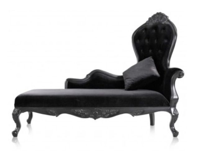 Black Victorian Chaise| Hollywood Regency Style Furniture