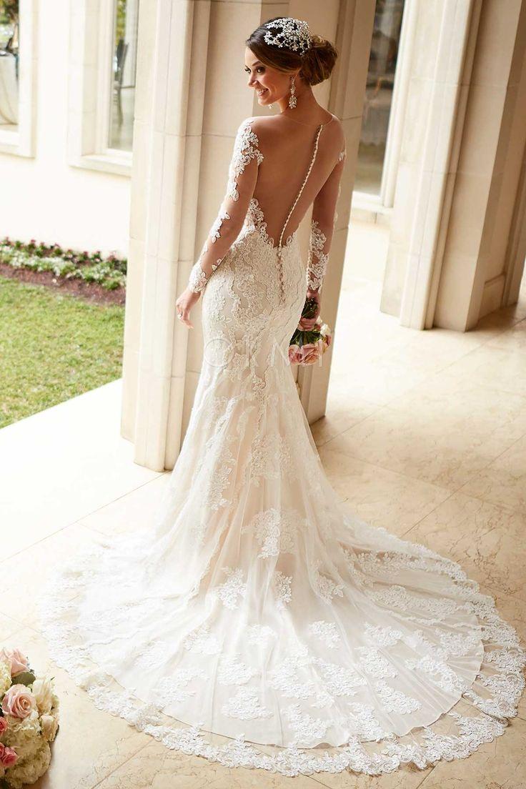grande immagine Vestido de noiva Sereia Cauda Pequeno Costas cobertas por um tecido transparente Renda