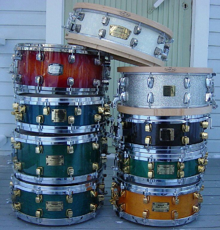 Yamaha snare drum collection.