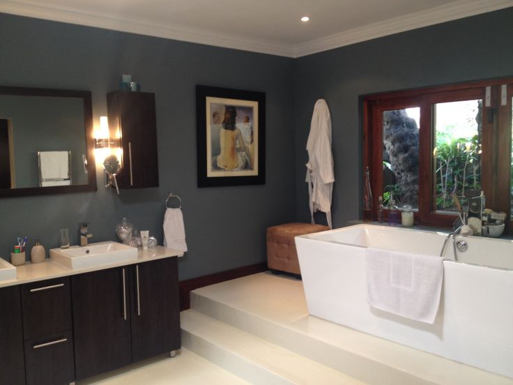 charming blue bathroom color schemes | Our new 'blue steel' bathroom walls using Plascon Double ...