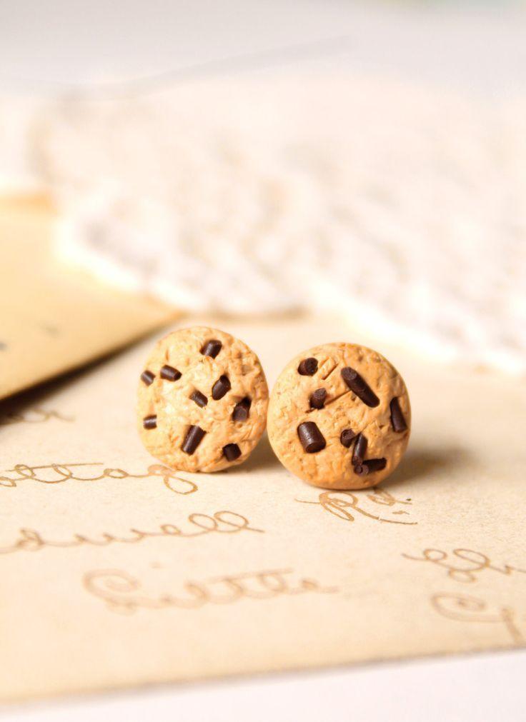 Miniature food earrings, chocolate chip cookie stud earrings, Alice in ...