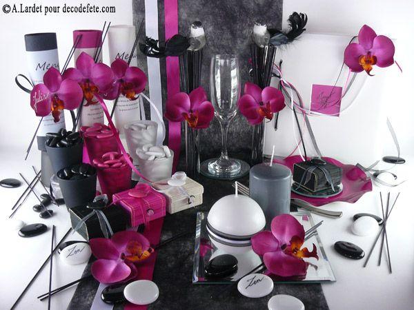 Cette deco de table a t r alis e avec un chemin de table sobre - Deco mariage orchidee ...