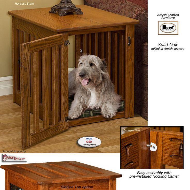 Wood Dog Beds  Solid wood dog crates - custom built with wood slats