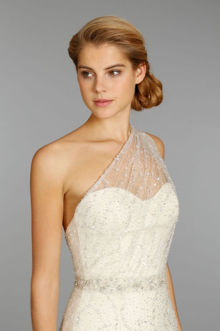 Jim Hjelm wedding dress fall 2013 bridal 8352 - one shoulder illusion neckline