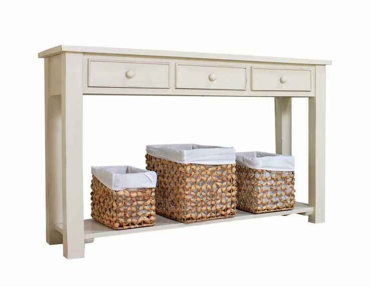 This stunning Console Table from our Vintage Cream collection could be just what your hallway is missing. Hand-crafted from only the finest grade solid mahogany, it has a beautifully warm, antique style finish.  Providing outstanding durability, each console table has been lightly distressed by hand  making each piece unique and creating a 'shabby chic' look that is fast becoming a staple design statement for modern homes. £369