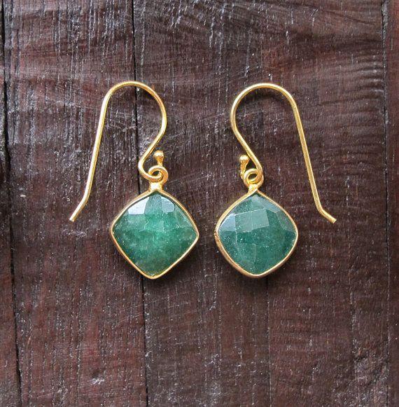 Green Emerald Earrings Emerald Dainty Earrings Gold by Belesas, $34.99