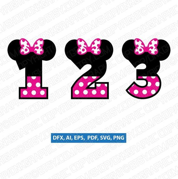 Minnie Mouse Numbers First Second Third Fourth Fifth 1st 2nd 3rd 4th 5th Birthday Party Convite Aniversario Minnie Convite De Aniversario Aniversario Minnie