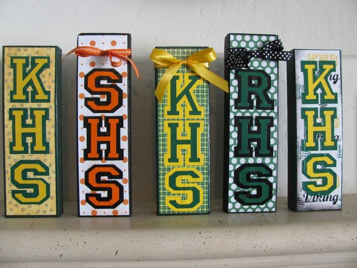 Wooden Block Showing Your School Spirit. $12.00, via Etsy.