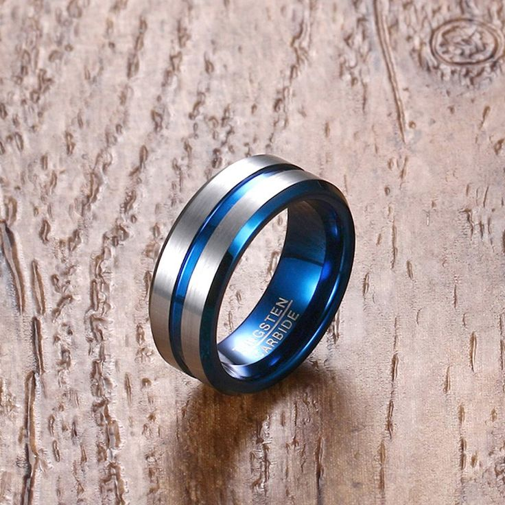Mprainbow Men Ring Wedding Bands Tungsten Carbide for Men Blue Line Groove & Inner Gents Fine Jewelry Anillos Bague Homme anel