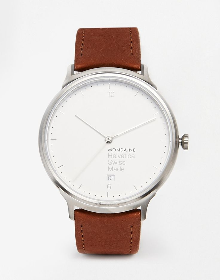 Armbanduhr von Mondaine Wildlederarmband drei Zeiger Datumsanzeige auf 6 Uhr Zahlen- und Strichmarkierungen Dornschließe 3 atm wasserdicht bis 30 Meter (100 Fuß)