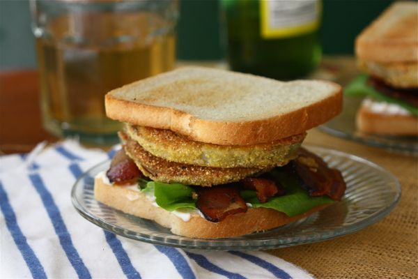 Fried Green Tomato BLT - morning star strips, 1/2 cornmeal/1/2 starch ...