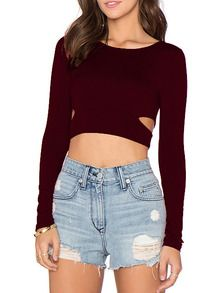 Wine Red Cut Out Punk Comfortable Halloween Eve Sexey Crop T-Shirt US$8.99