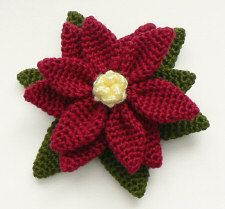 crocheted poinsettia   ...   free pattern, or you may donate for a PDF download