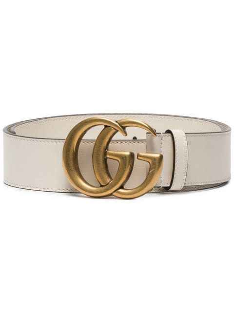 e40fc32f249 Gucci White Leather Belt With Double G Buckle in 2019