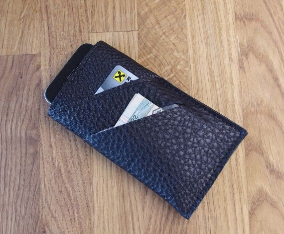 iPhone 6 sleeve Leather Black iPhone case and wallet by meandbags