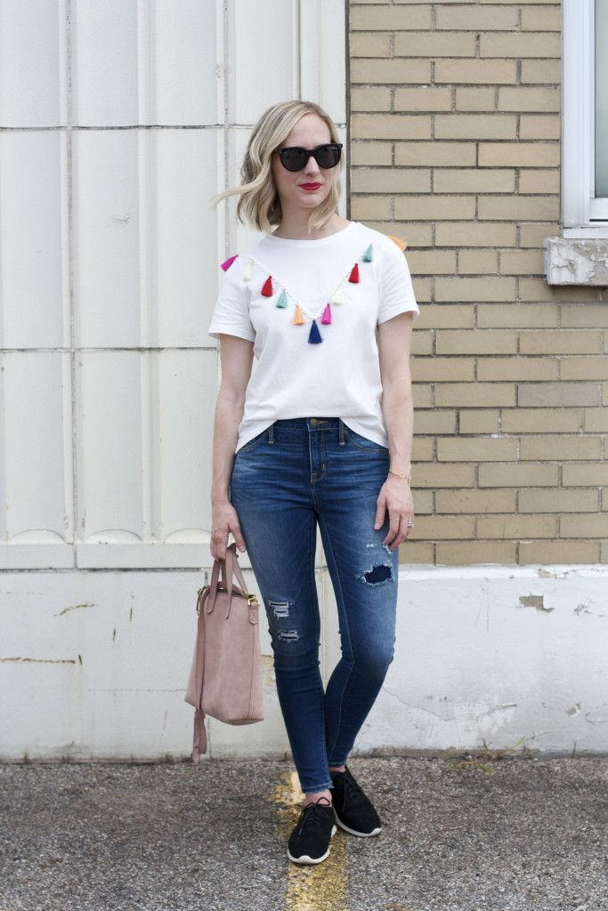 tassel t-shirt, Target jeggings, Cole Haan suede oxfords, Indianapolis blogger