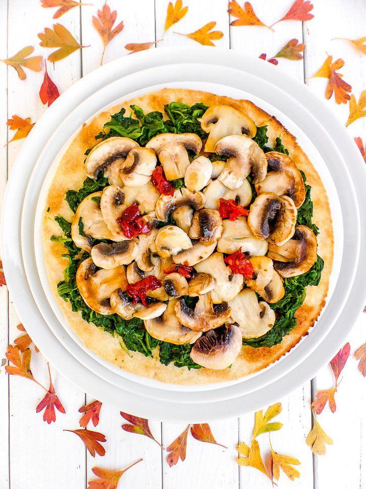 Pizza vegan épinards champignons