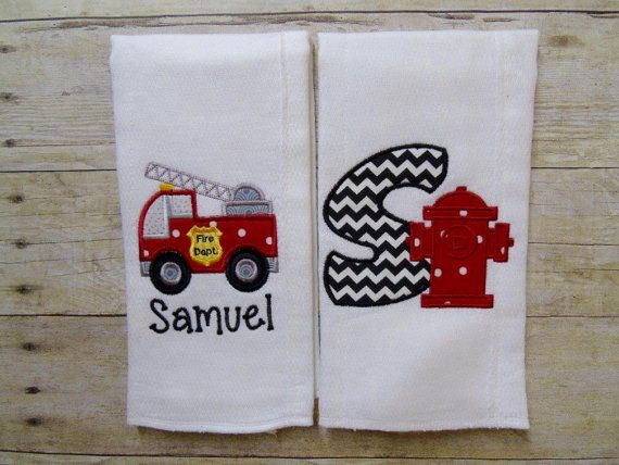 Firefighter Burp Cloths Fire Truck Burp by HushabyeStrBoutique