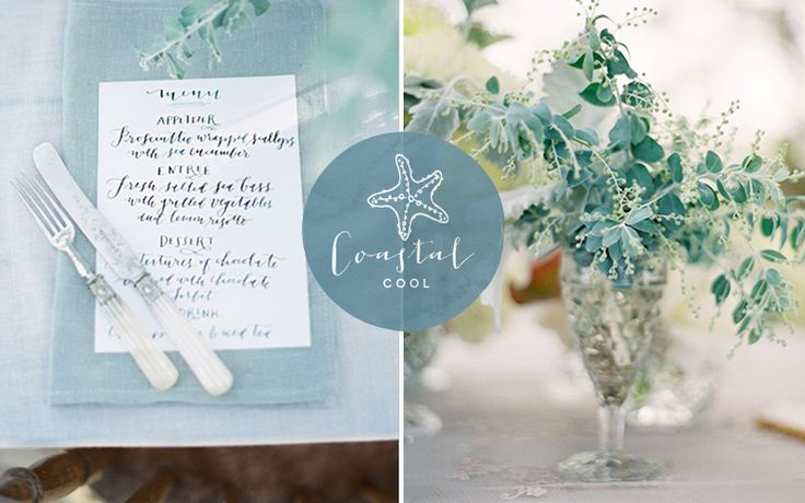 In today's coastal wedding inspiration we're being enveloped by washes of foam green and striking sea glass aqua. Come on, dive in pretties!