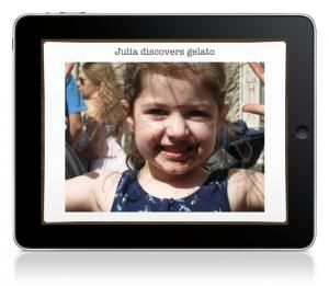 Try Pictello - a simple way to create talking photo albums and talking books on your iPad, iPhone and iPod touch.  Each page in a Pictello Story can contain a picture, up to five lines of text, and a recorded sound or text-to-speech using high-quality voices.