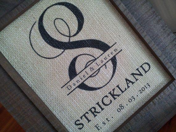 burlap monogram wedding gift initial anniversary gift wedding date couples names last initial 8x10 rustic personalized