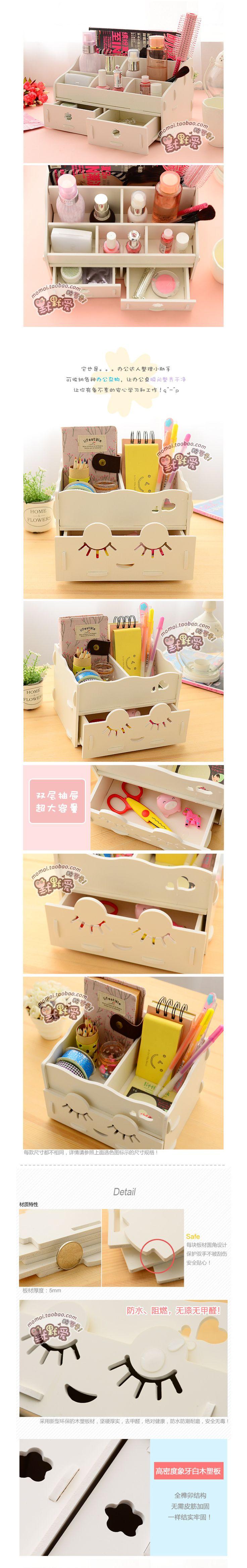 Escritorio en casa de madera DIY caja de almacenamiento para maquillaje cosméticos organizador de escritorio gabinetes con cajones en Cajas y Papeleras de Almacenamiento de Casa y Jardín en AliExpress.com | Alibaba Group
