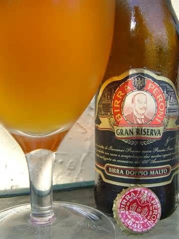 """Peroni Gran Riserva:  A prestigious clear double malt beer with an alcohol content of 6.6%. This Italian beer is the result of a careful, scrupulous selection of the most noble qualities of aromatic hops, yeast and a spring variety of distichous barley named """"cherie""""."""