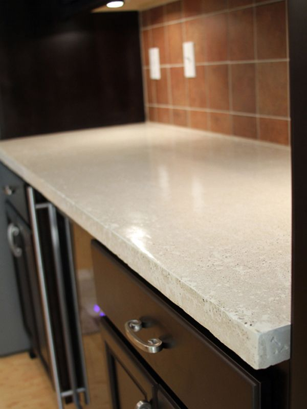 Dark Kitchen Cabinets Concrete Counter