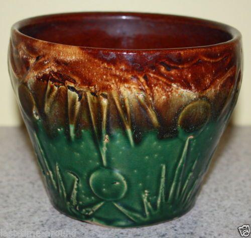 Vintage mccoy sunrise pottery jardiniere planter brown - Pots et jardinieres ...