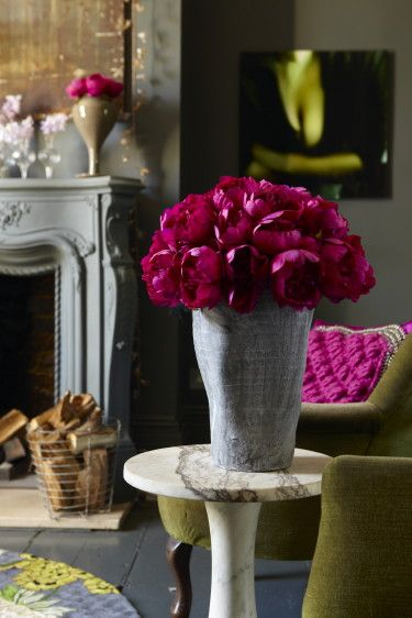faux flowers by Abigail Ahern: via desire to inspire/ Fab color,tough to  believe these are faux
