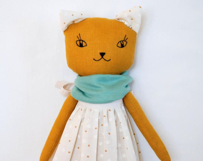 Mustard cat doll 16 inches, cat cloth doll, stuffed cat toy, interior OOAK doll, cat rag doll, linen doll, collectible cat, heirloom cat