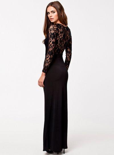 Women's Long Sleeve Lace Split Maxi Dress novashe.com