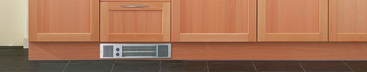 A plinth heater is predominantly used in a kitchen; a perfect replacement for a standard central heating radiator. As the name suggests, a plinth heater will fit into the plinth of a kitchen unit, making it space-saving and unobtrusive. There are two main types of plinth heater - hydronic (central heating-based), and electric (standalone electric supply) - as well as dual units which utilise both sources.
