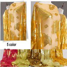 5 farbe dubai design mode luxus gold burnout jacquard Seide chiffon stoffe(China (Mainland))