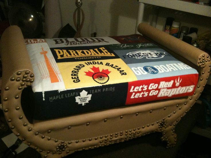 My entry for the 2012 Chair Affair. Vintage bench reupholstered in tan leather with reversible cushion made from various secondhand Toronto-themed t-shirts. #upholstery #upcycling #toronto