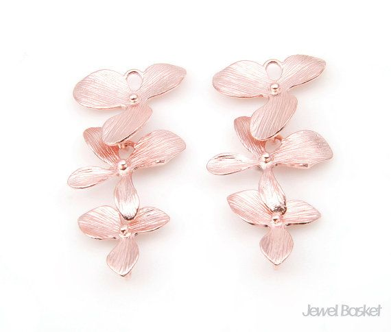 - 3 Orchid Flower Connector - Matte Rose Gold Plating (Tarnish Resistant) - Brass / 16mm x 34mm - 2pcs / 1pack #dangle #danglependant #orchidpendant #leaves #orchid