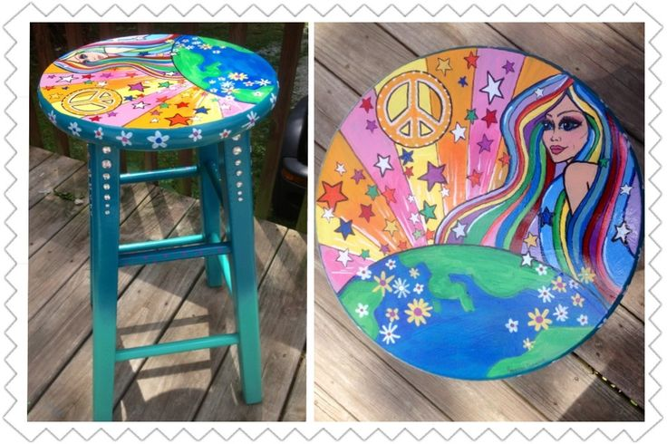 I Completely Repainted This Plain Wooden Stool For My