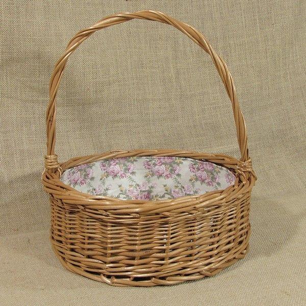 """Wiklinowy koszyk """"Ogrodowy"""" z wyściółą (różowa róża)"""