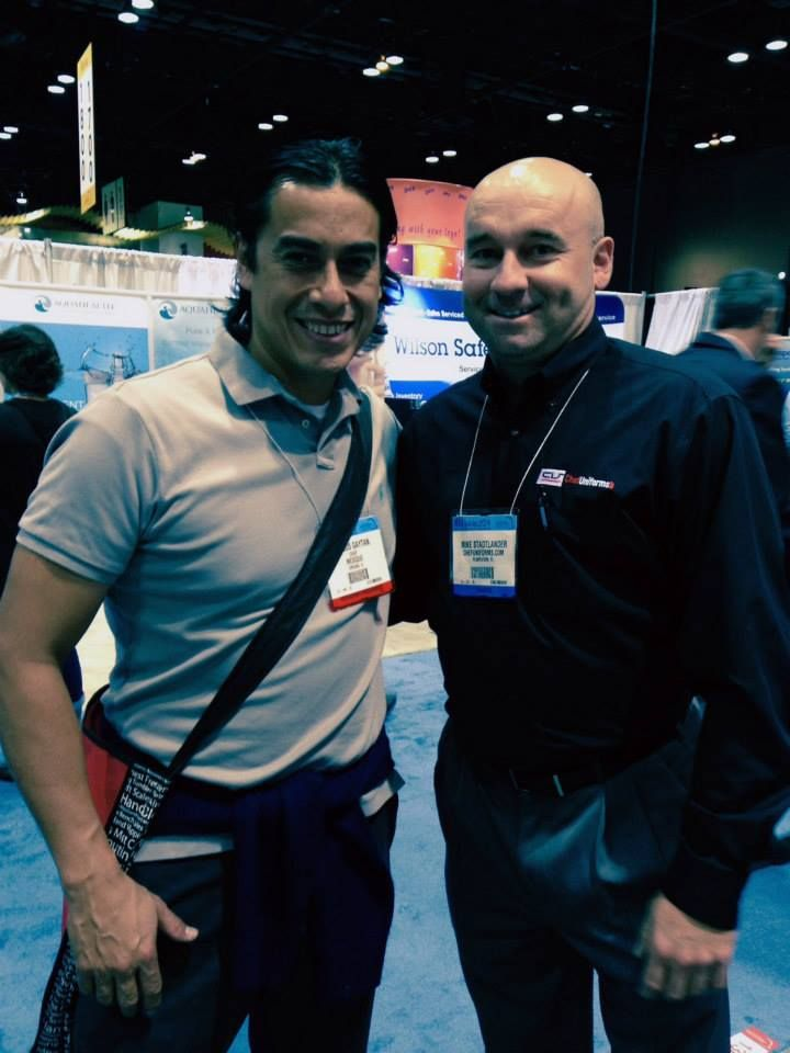 Here's a pic of Carlos Gaytan with a member of #chefuniforms Business Development Team! #NRA #Chicago