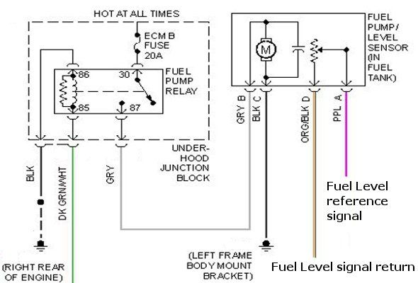 Fuel Pump Relay With Underhood Junction Block And Level Sensor Wiring Diagram Level Sensor Diagram Relay