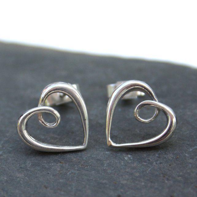 Silver heart studs, infinity hearts £18.00