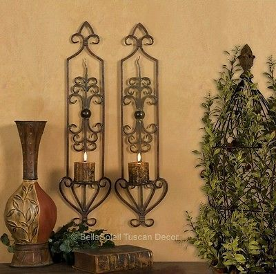 ST-2-FRENCH-TUSCAN-SCROLL-Mediterranean-WALL-SCONCE-CANDLE-HOLDERS