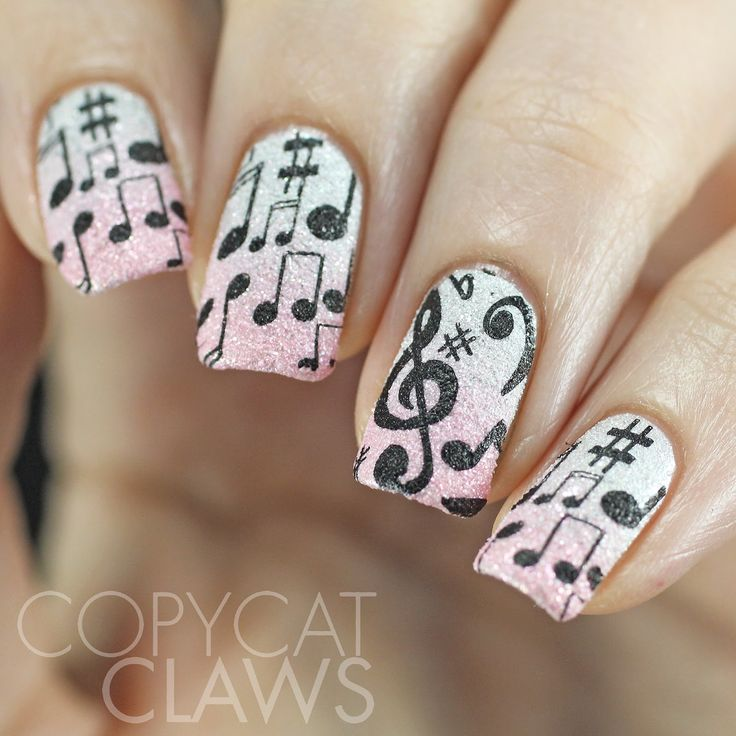 Music Stamping Over Textured Polish