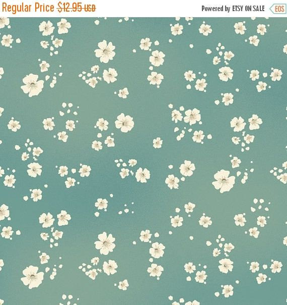 YEAR END SALE Welcome Home~Baby's Breath~Teal~Cotton Fabric by Maywood Studio Fast Shipping, F877