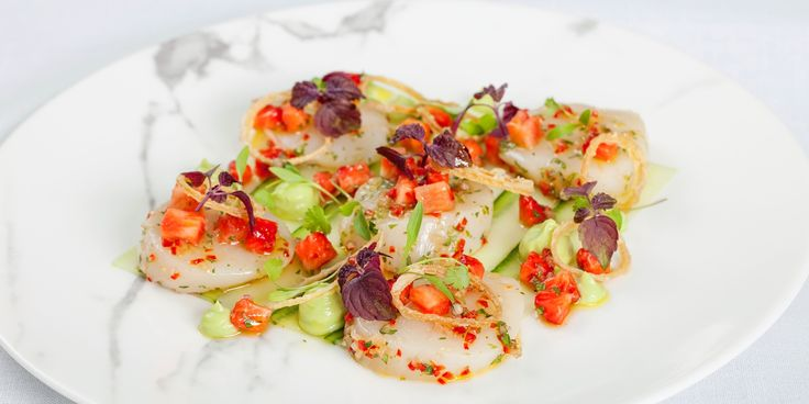 Tony Fleming compliments plump strawberries with chilli, lime and scallops in this summery ceviche recipe. The avocado purée adds an extra dimension to the dish, laced with wasabi for an extra kick.
