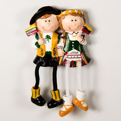 Resin Fridge Magnet: Lithuania. Couple Wearing National Lithuanian Dress
