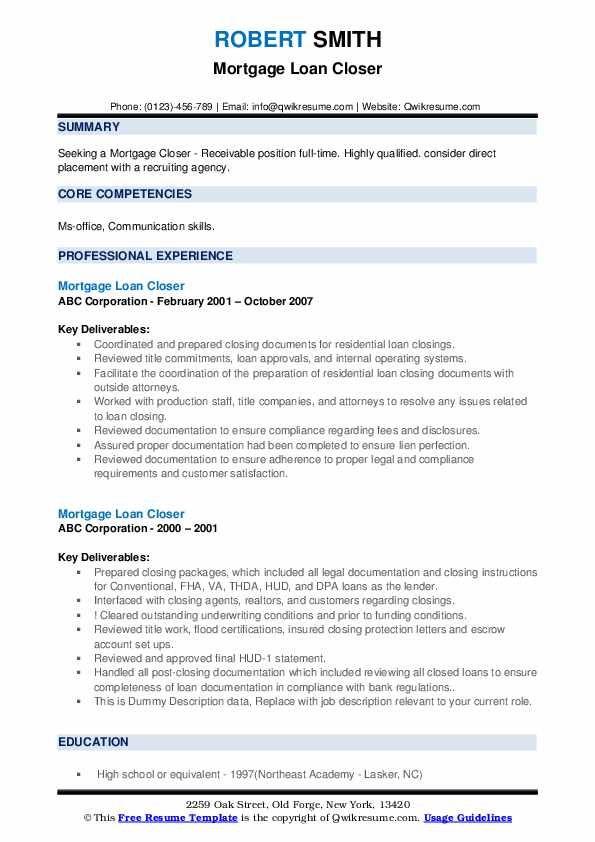Mortgage Loan Closer Resume Samples In 2020 Job Resume Examples Job Resume Samples Resume Objective Examples